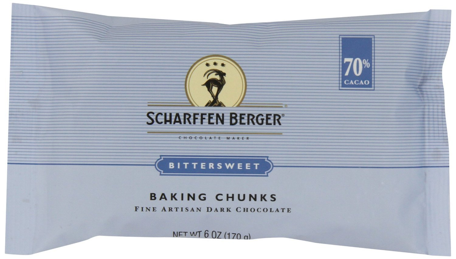 Scharffen Berger Baking Chunks, Bittersweet Dark Chocolate (70% Cacao), 6-Ounce Packages (Pack of 10) by Scharffen Berger