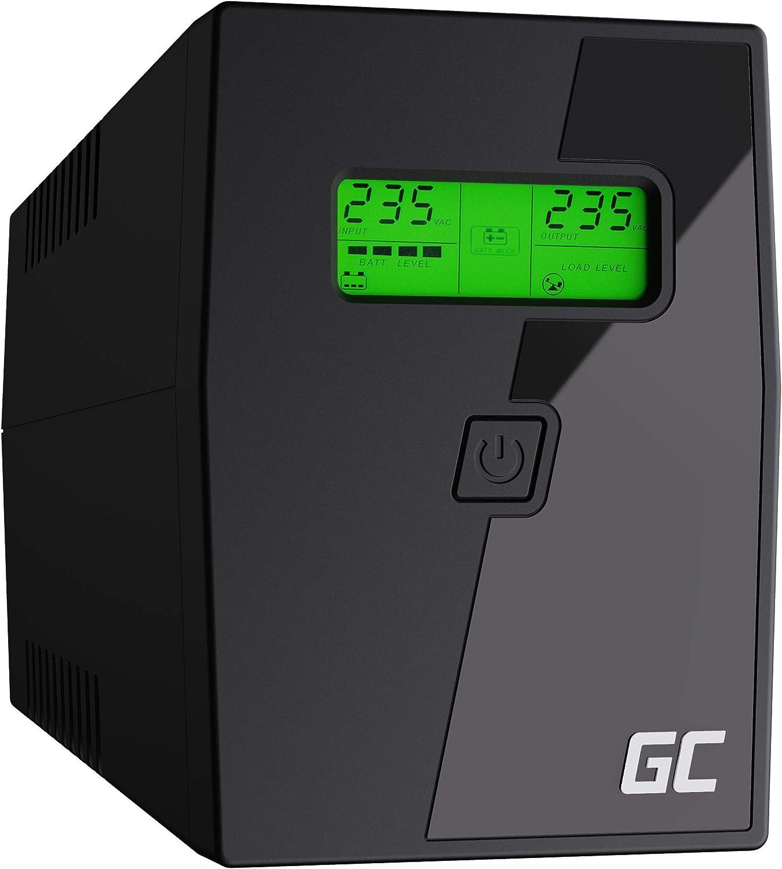 Green Cell® SAI Sistema de alimentación ininterrumpida UPS Potencia 600VA (360W) 230V Fuente de alimentación Continua Line Interactive senoidal AVR USB/RJ11 2X Schuko Tomas con Pantalla LCD