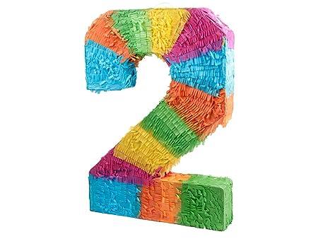 Alsino Piñata Multicolor | Forma de número 2 | para la Fiesta de Cumpleaños | Entretenimiento Niños, Piñata número 2