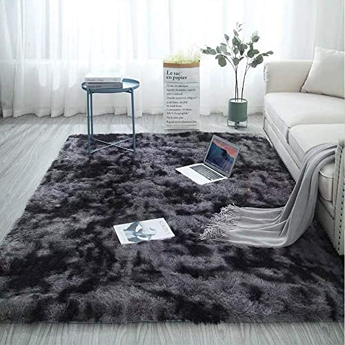 MLADEN Soft Fluffy Area Rugs Motley Plush Carpets Thick Shaggy Floor Mat Living Room Bedroom Home Decor Nursery Rugs 63 x 78.7 , Dark Grey