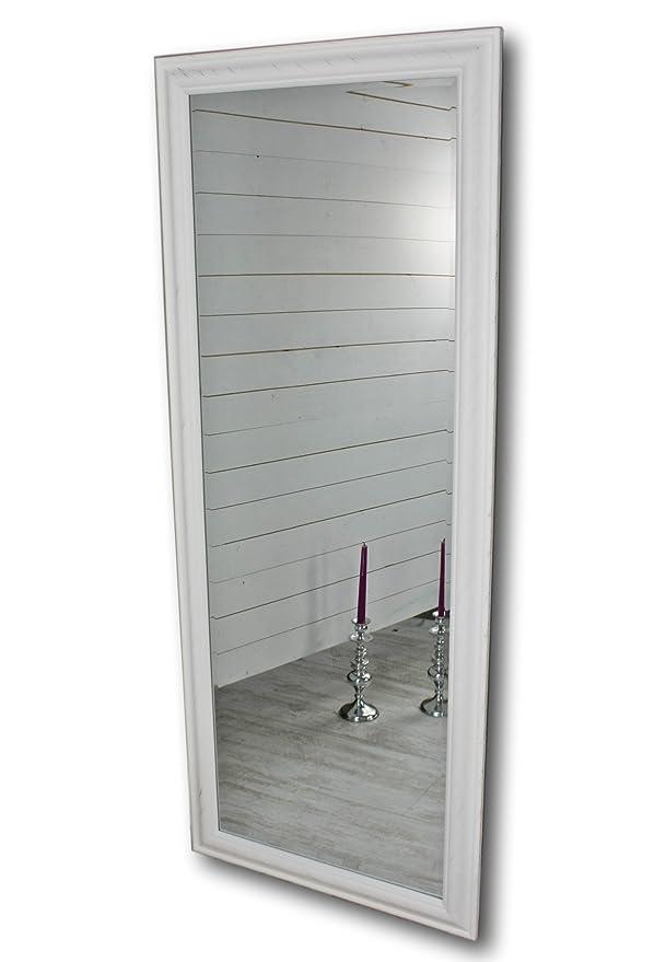 elbmöbel 150 x 60cm Wandspiegel groß in weiß mit schlichtem Holz ...