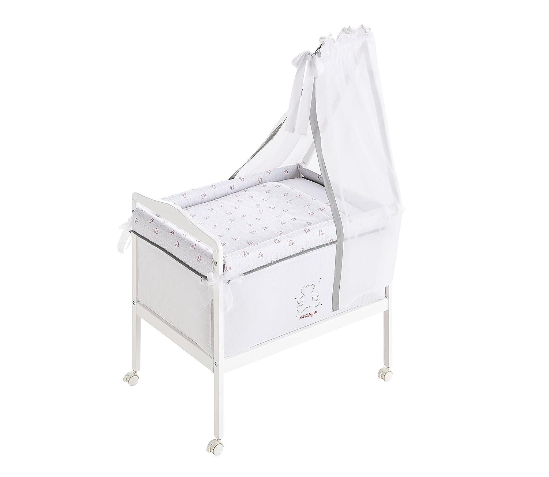 mini-berceau Complet Carré (Bois + Textil + Ciel De Lit) 100% Cotton brodé Lulu Allover