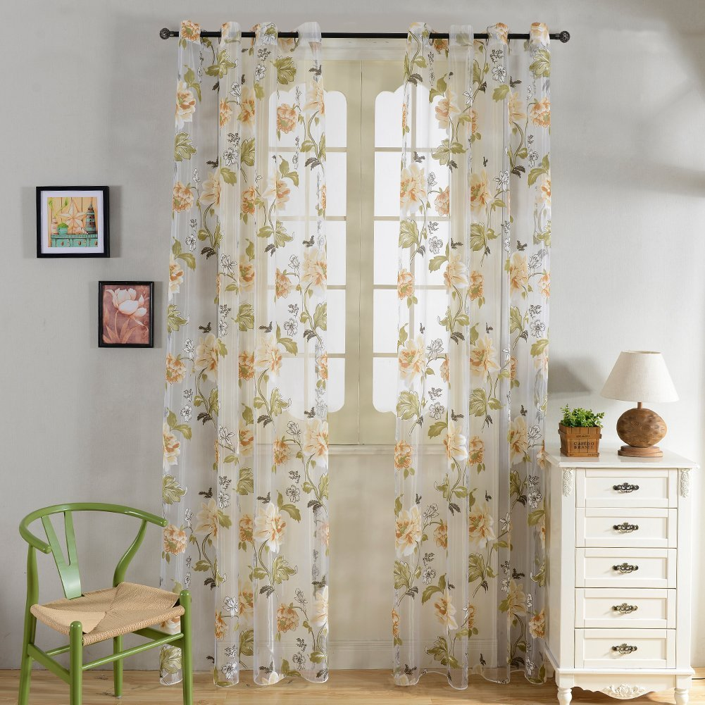 Top Finel Yellow Flower Window Treatments Sheer Curtain Panels 54 inch Width X 96 inch Length,Grommets, Single panel