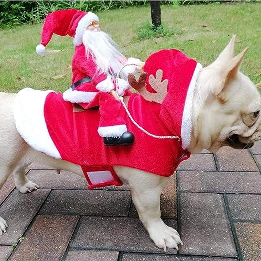 Hualieli Santa Navidad Ropa para Mascotas Estilo De Jinete Perros Trajes Papá Noel Que Monta Ciervos Perros Vestir Ropa De Navidad para Perros ...