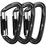 Storesum UIAA Certified Climbing Carabiner - 3 Pack 24KN (5400 lbs) Heavy Duty Locking Carabiner Clip Climbing Gear for…
