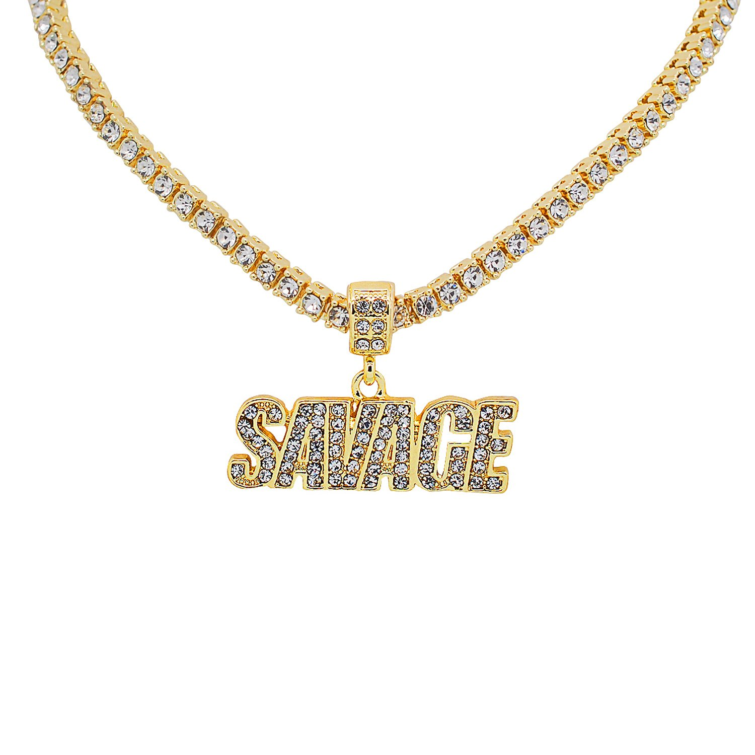 Yellow Gold-Tone Hip Hop Bling Simulated Crystal Savage Letter Pendant with 24 Tennis Chain and 24 Rope Chain