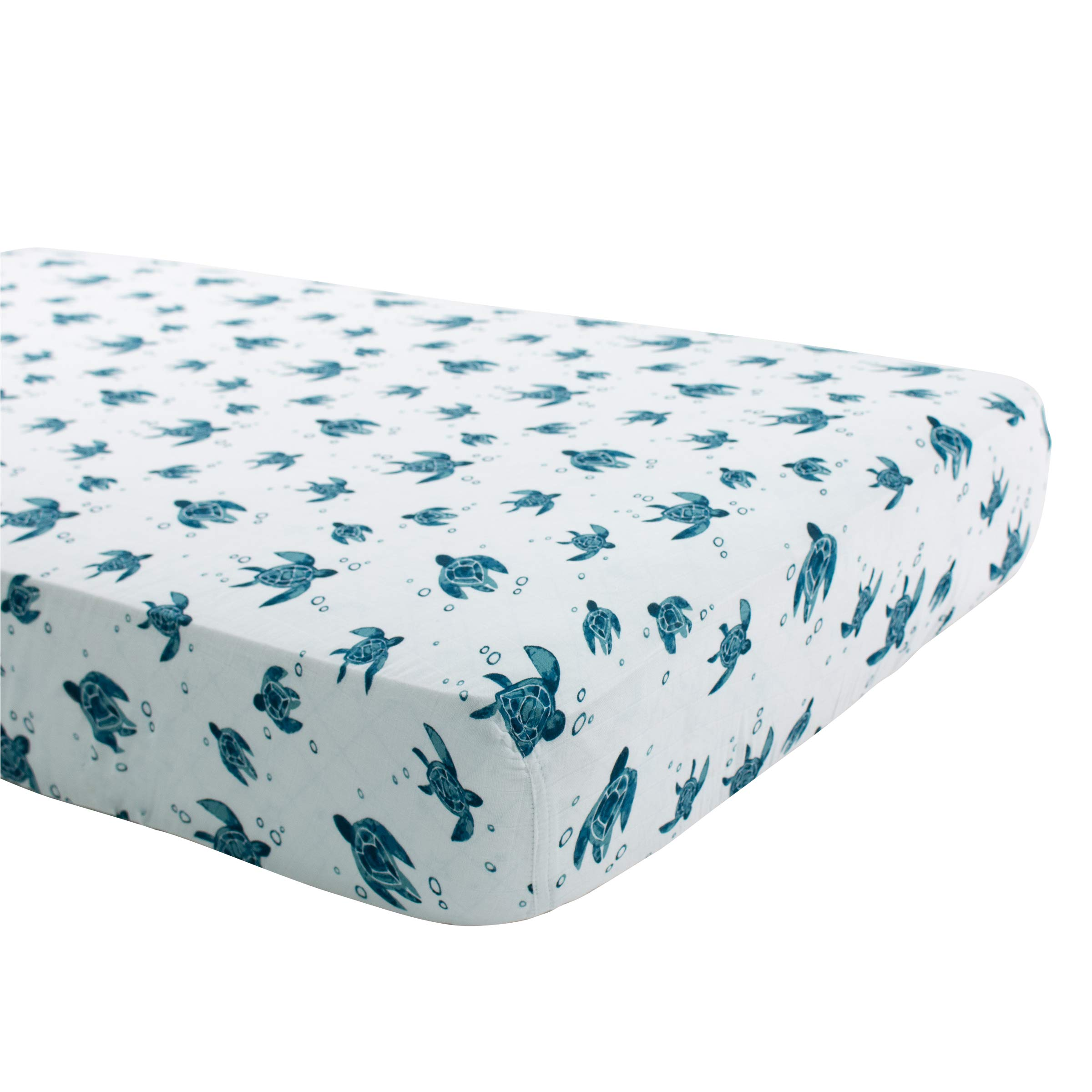Bebe au Lait Oh So Soft Muslin Crib Sheet, Sea Turtle by Bebe au Lait