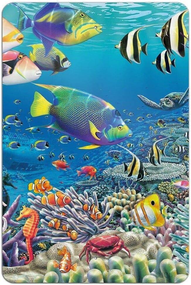DOIUGODI Metal Tin Signs Vintage Wall Art Ocean Coral Reef Angel Fish Home Bar Kitchen Wall Decor Hanging Signs 12X8Inch