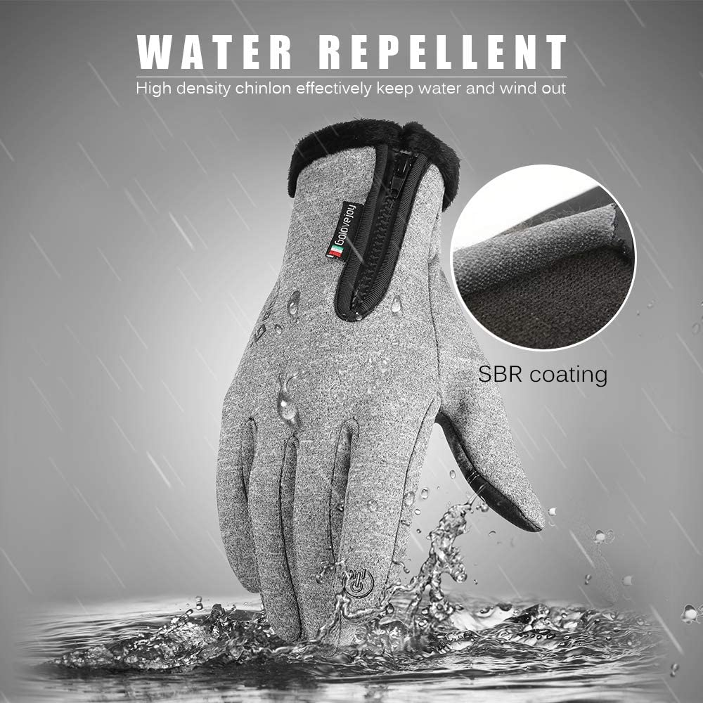 Lixada Thermal Winter Gloves Touch-Screen Cycling Gloves Water Repellent Windproof Fleece Gloves Warm Climbing Skiing Motorcycling Equipment