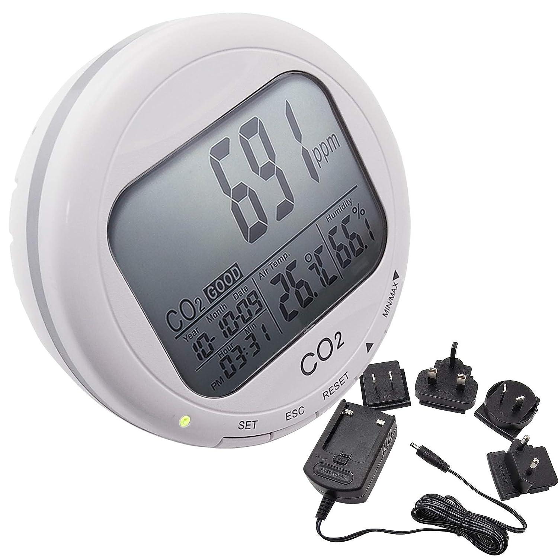 Calidad de aire interior de la sala de trabajo IAQ Humedad de la temperatura RH Medidor de dió xido de carbono CO2 Medidores Monitor con sensor infrarrojo no dispersivo (NDIR) sensor 2 lí mite de alarma TekcoPlus Ltd COTK-3