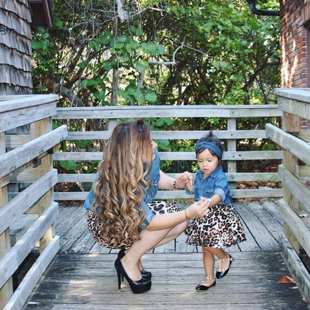 Strandkleid Mutter Tochter,Mutter-Tochter-Kleid Family Partnerlook Matching Outfits Kinder Baby M/ädchen Denim Jeans Shirt Leopard Rock und Stirnband 3 St/ück Outfit Set