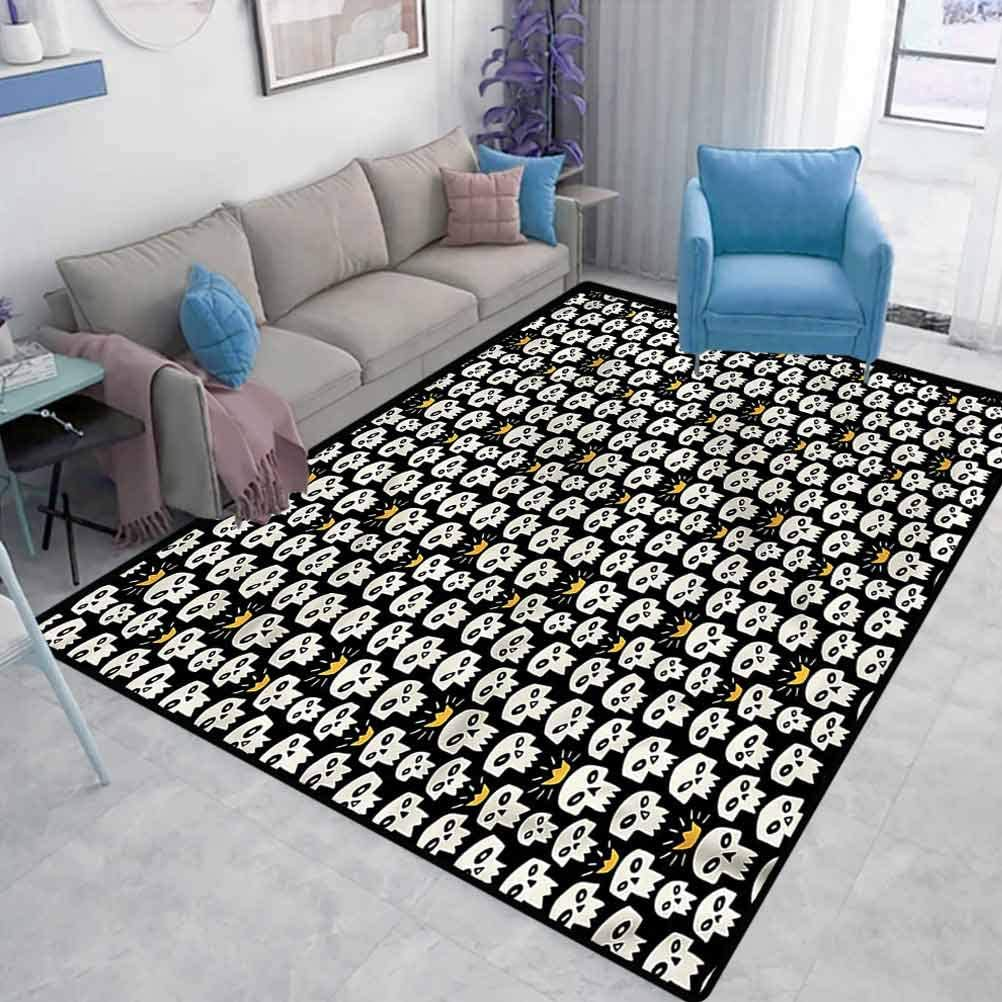 Skull Home Sports Rugs Scary Sharp Teeth and Crowns Carpet Protector for Desk Chair Modern Home Decoration Carpet W6 x L7 Feet