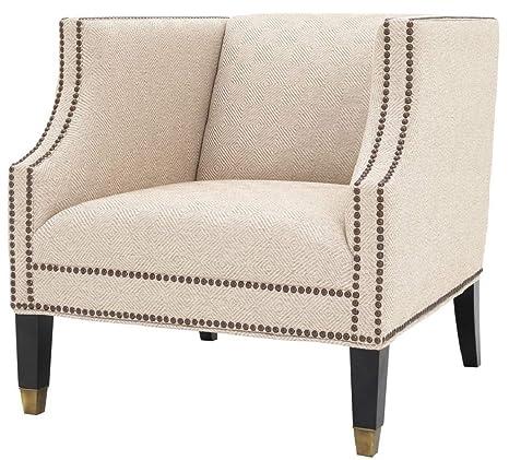 Casa-Padrino sillón de salón Arena/Negro/latón 75 x 80 x H ...
