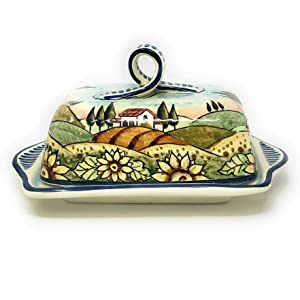 CERAMICHE D'ARTE PARRINI- Italian Ceramic Butter Dish Hand Painted Decorated Sunflowers Landscape Made in ITALY Tuscan Art Pottery