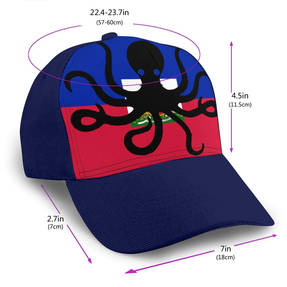 Y94OIW@MAO Octopus Flag of Haiti Peaked Cap for Mens and Womens Cotton Sports Cap