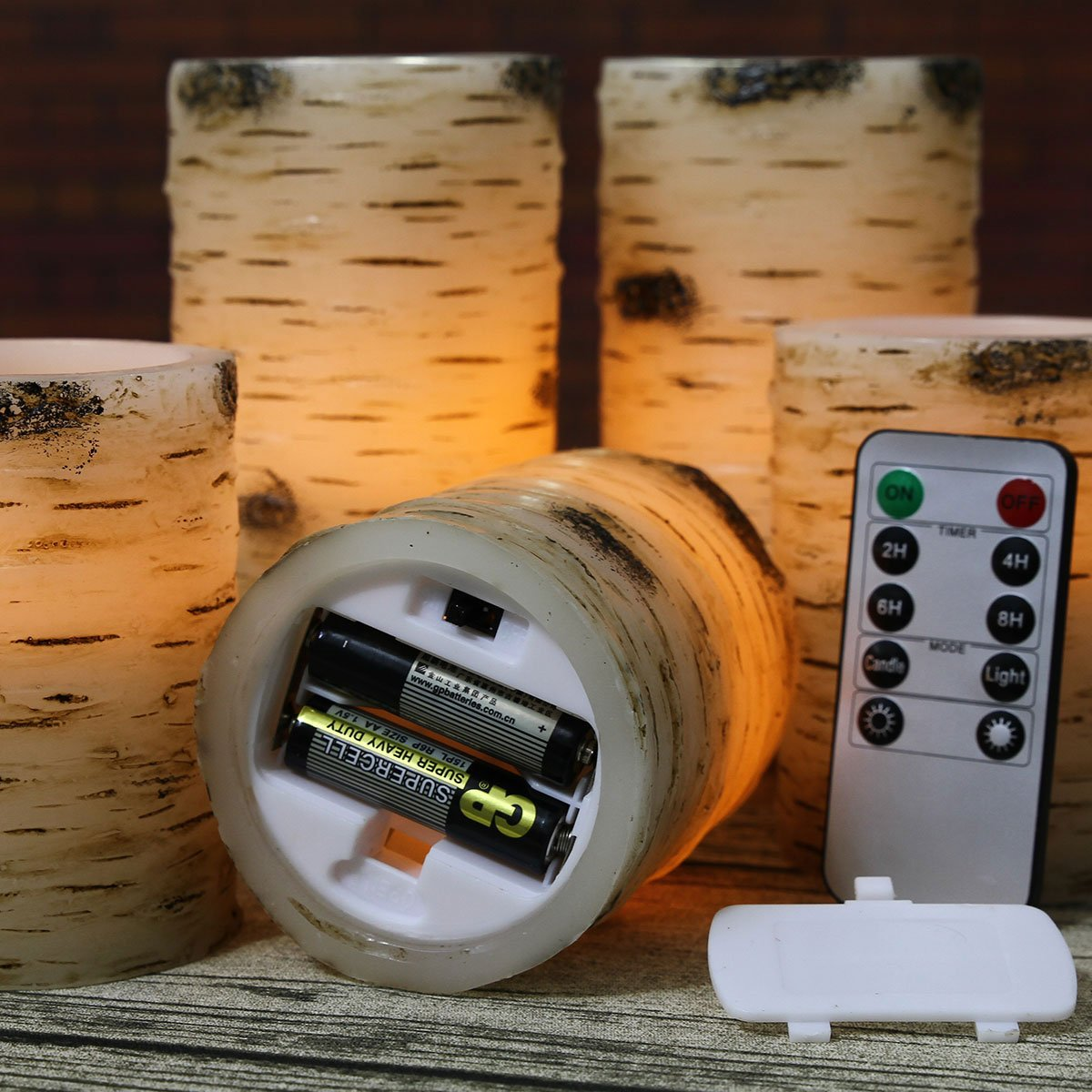 Pandaing Set of 5 Pillar Birch Bark Effect Flameless LED Candles with 10-key Remote Control and 2 4 6 or 8 Hours Timer Function by Pandaing (Image #5)