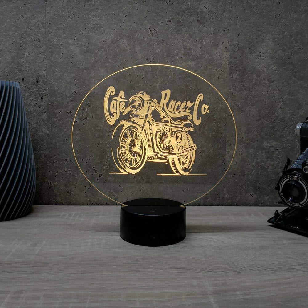 Lampe veilleuse Lampe illusion Caf/é Racer 7 ou 16 couleurs personnalisable Fabriqu/ée en France Lampe dambiance Lampe de table