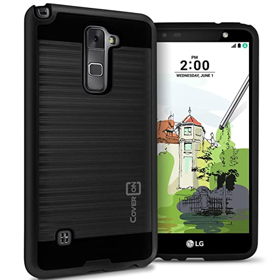 online store fa3de a51a1 LG Stylo 2 Plus Hard Case, LG Stylus 2 Plus Case, CoverON [Chrome Series]  Faux Brushed Metal Hard Slim Fit Hybrid Protective Cover Case for LG Stylus  ...