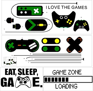 Amersumer Game Controllers Vinyl Wall Stickers, Game Zone Loading Wall Decal, Eat Sleep Game Wall Decors Removable, Peel and Stick Game Room Decor for Kids, Boy Bedroom, Playroom Wall