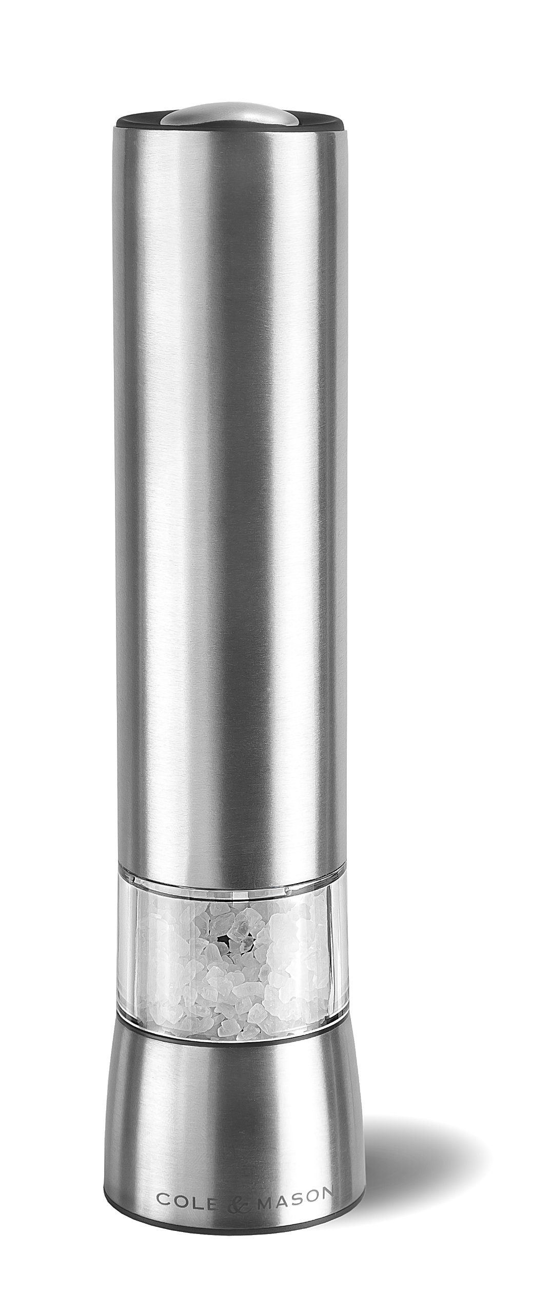 COLE & MASON Hampstead Electric Salt Grinder with LED Light - Electronic Battery Operated Mill, Stainless Steel by Cole & Mason