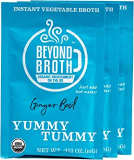 product image for BEYOND BROTH Organic Vegan Vegetable Instant Sipping Broth with Ginger, Basil, and Parsley for Digestion | Keto, Gluten Free, Whole 30, and non GMO | (Yummy Tummy) (3 Pack)