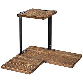 SONGMICS Eckregal für die Wand, 2 Ebenen, Wandregal, Wandmontage, aus  Massivholz und Metall, für Schlafzimmer, Wohnzimmer, Büro, Küche,  Kiefernholz, ...