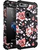 OBBCase 29case-ch iPhone 7 Case, (Heavy Duty) Three Layer Hybrid Sturdy Armor High Impact Resistant Protective Cover Case for iPhone 7 - Rose Flower/Black