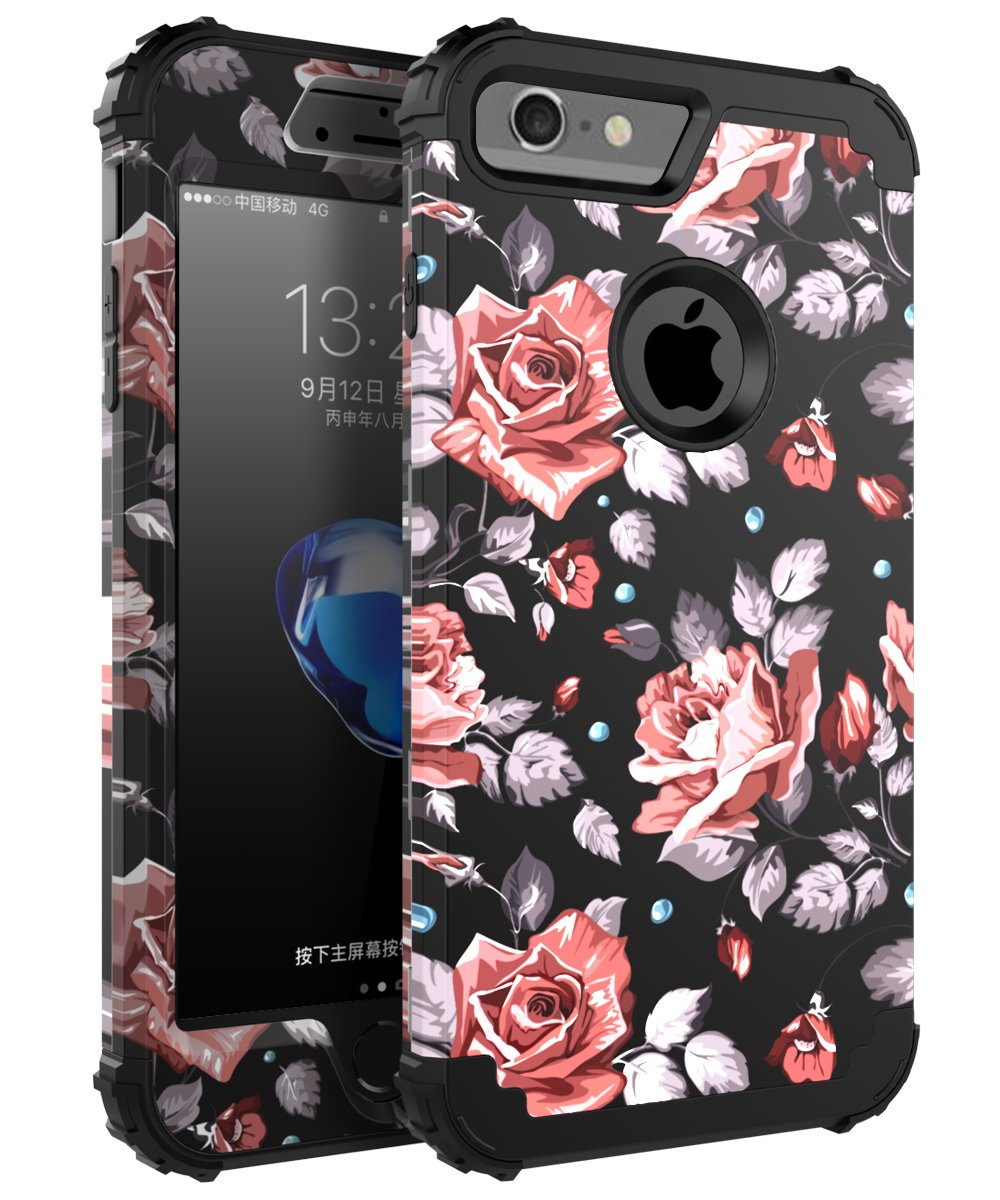 Obb Case 29case Ch I Phone 7 Case, (Heavy Duty) Three Layer Hybrid Sturdy Armor High Impact Resistant Protective Cover Case For I Phone 7   Rose Flower/Black by Obb Case