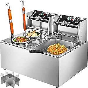 VEVOR Stainless Steel Deep Fryer, 3 in 1 Dual Tank Deep Fryer 20L Countertop Fryer Dual Tank, 5KW Dual Tank Fryer 140-392? Electric Deep Fryer w/Removable Basket, Pasta Noodles Cooker Oden Function