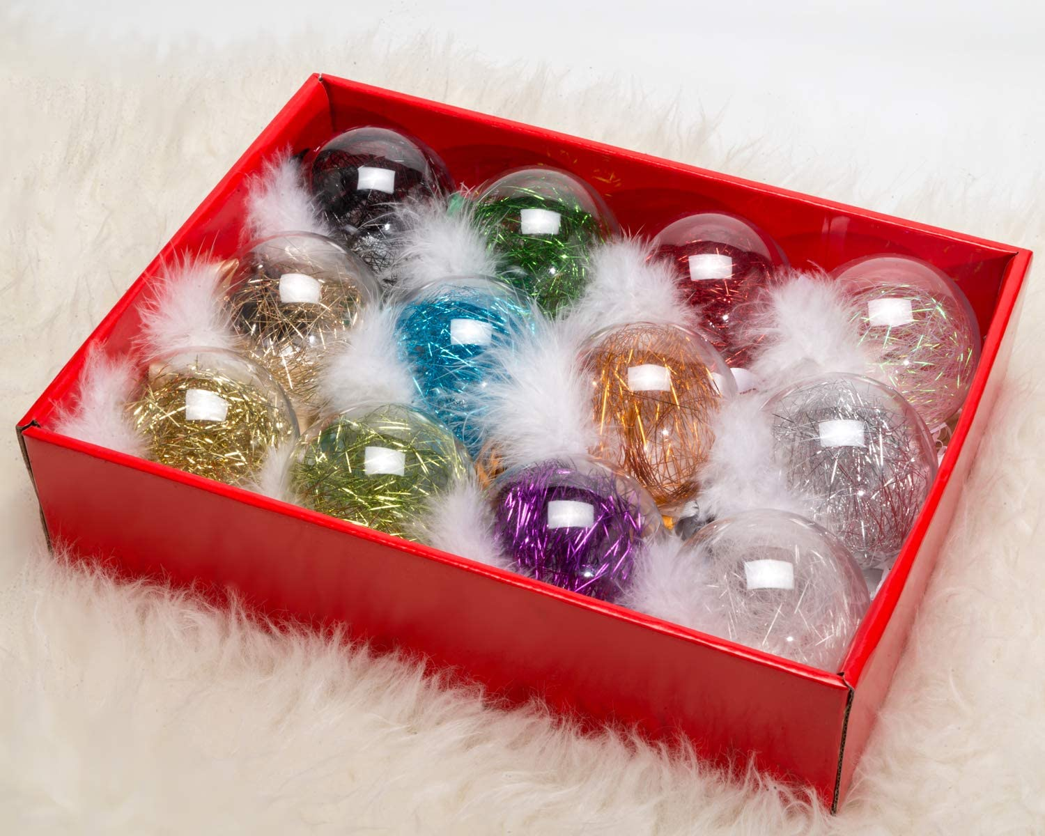 Amazon Com Ams 3 14 12ct Shatterproof Clear Plastic Christmas Ball Ornaments Decorative Xmas Balls Baubles Set With Stuffed Delicate Decoration 80mm Mix Corlor Home Kitchen