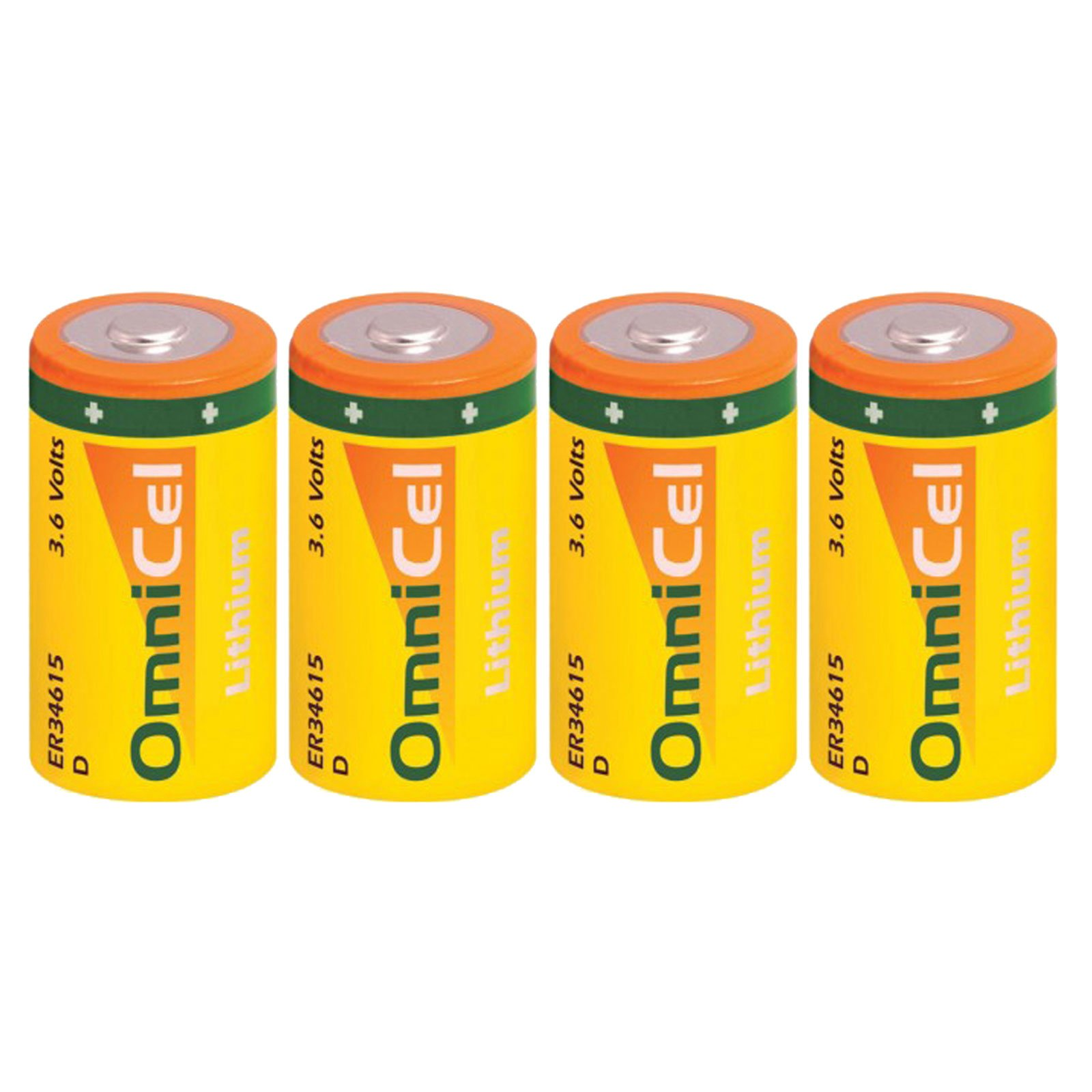 4x OmniCel ER34615 3.6 Volt 19Ah Size D Lithium Button Top Battery For Intrusion Sensors, Invisible Fencing,RFID Tracking, Asset Tracking, Theft Prevention