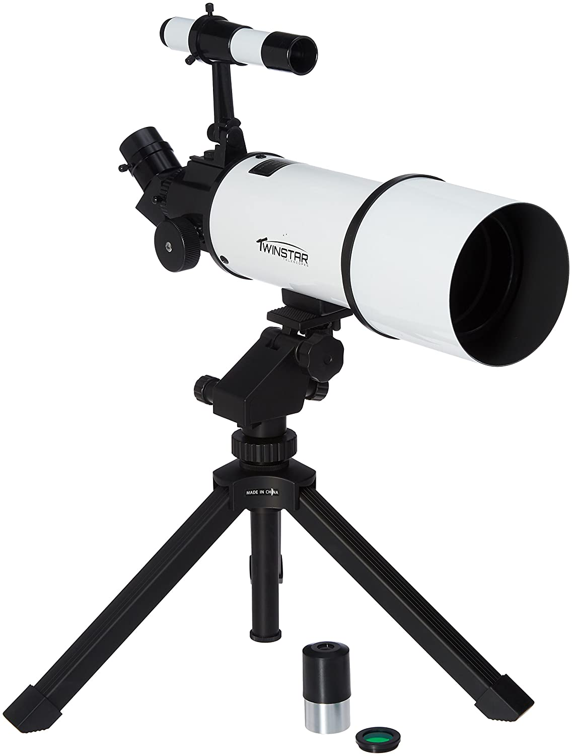 Silver TwinStar AstroMark 80mm 16-40x Power Portable Refractor Telescope 904514