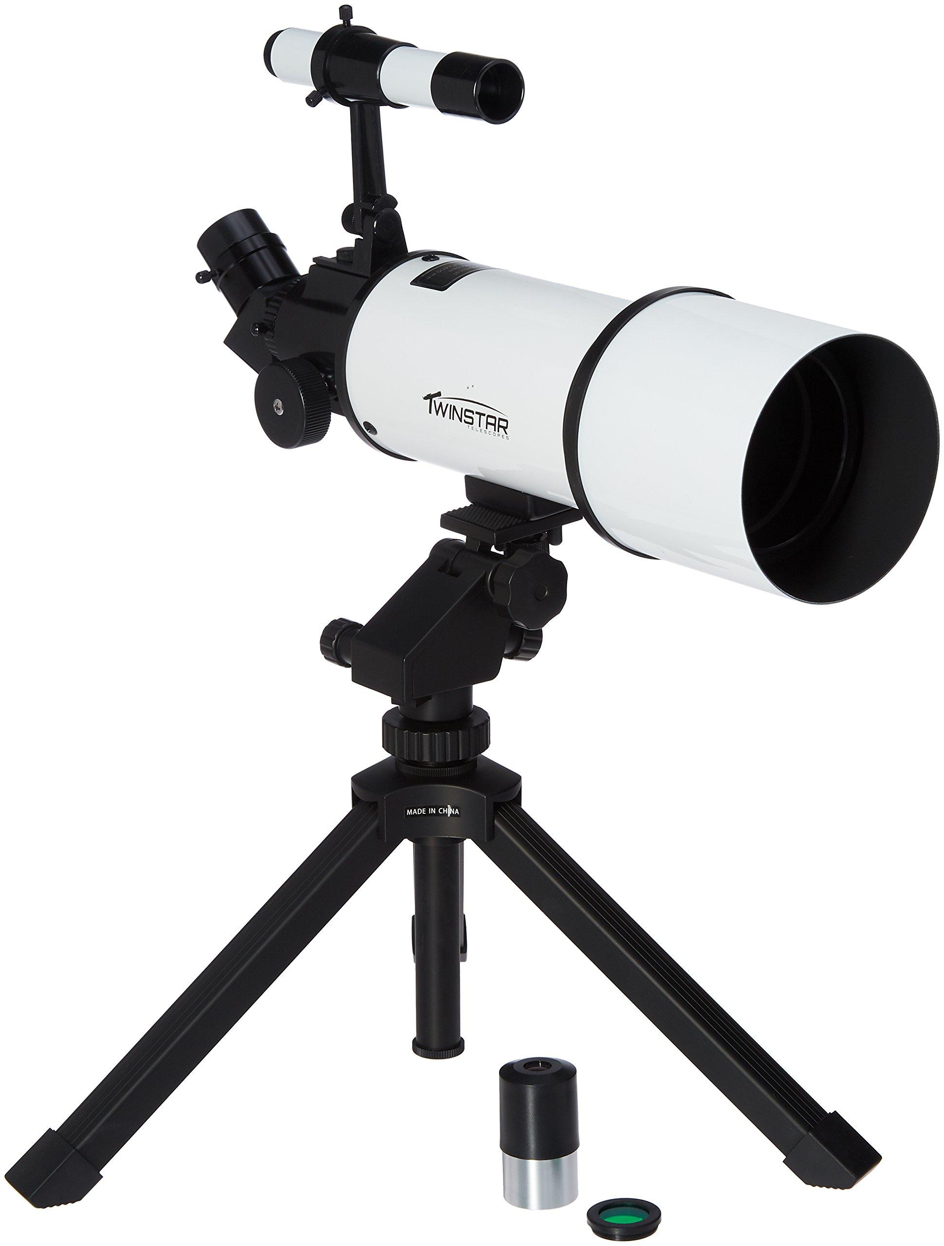 Silver TwinStar AstroMark 80mm 16-40x Power Portable Refractor Telescope