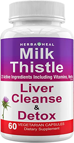 Liver Detox Milk Thistle Supplement 1500mg Unique Blend of 20 Ingredients Natural Liver Cleanse 30-Day Repair Formula Detoxifier Regenerator Active Liver Focus Support Rescue, Silymarin