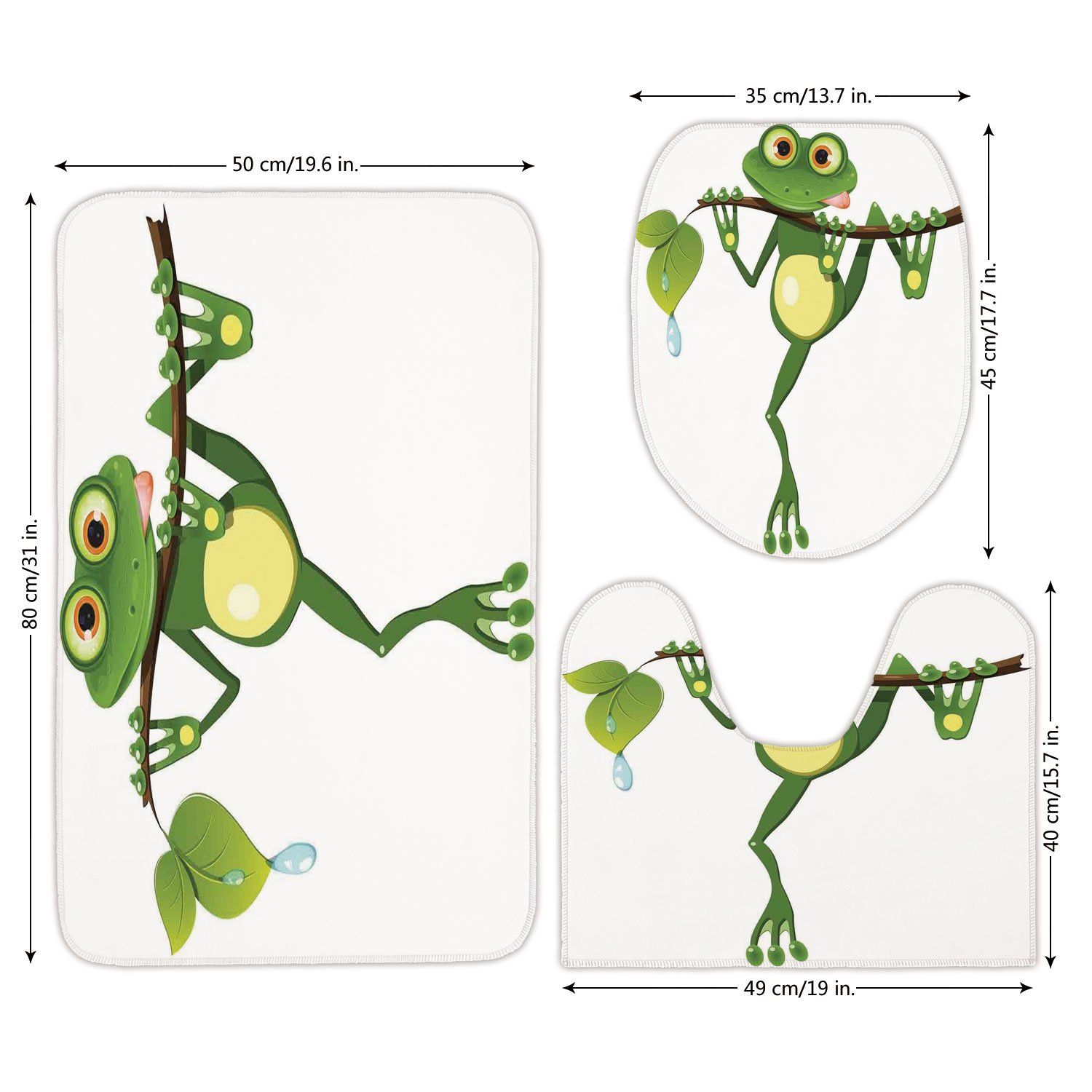 3 Piece Bathroom Mat Set,Animal Decor,Little Frog on Branch of the Tree in Rainforest Nature Jungle Life Artsy Earth,Green White Yellow,Bath Mat,Bathroom Carpet Rug,Non-Slip
