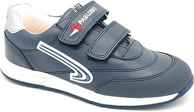 Zapatos de Piel para niños Fabricados en España. Zapatillas Deportivas con Cierre de Velcro 268120, Bonitas y cómodas, Color Azul, Talla 29 EU: Amazon.es: Zapatos y complementos