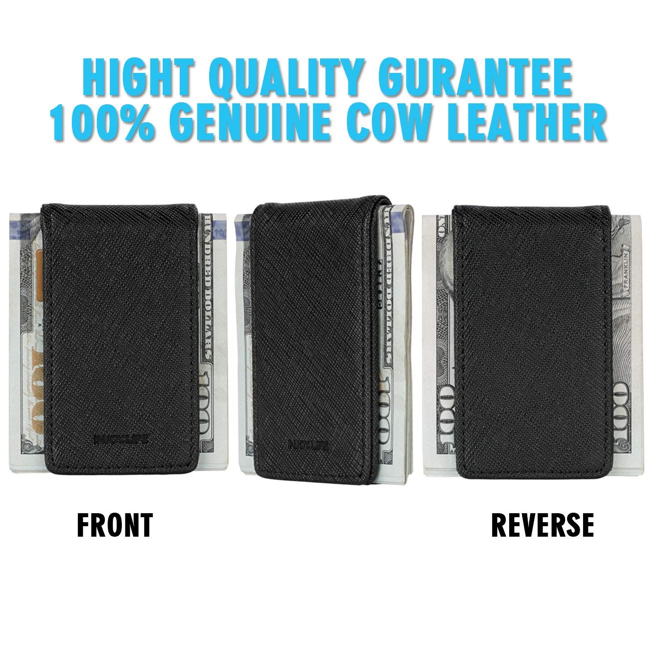 Black Money Clip INJOYLIFE Genuine Leather Strong Magnetic Money Clips Front Pocket Wallet Minimalist Business Credit Card Holder for Mens