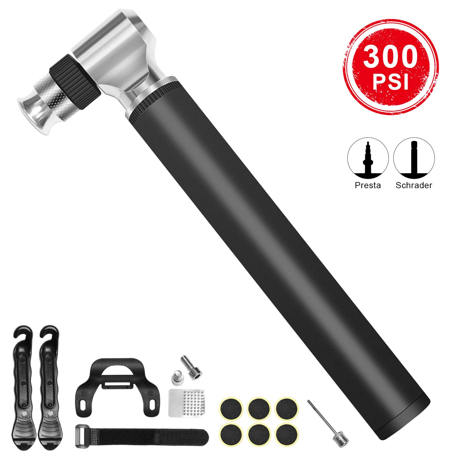 DTNO.I Mini Bike Pump Portable, High Pressure 300PSI Bicycle Air Pump Fits Presta and Schrader Value, Portable Bike Air Pump with Glueless Puncture Repair Kit for Road Mountain Bikes and Sports Ball