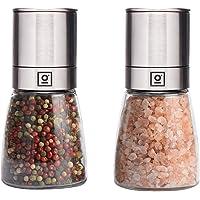 Garcon Salz und Pfeffermühle mit Keramikmahlwerk I große Pfeffer und Salzmühle aus Glas & Edelstahl I Gewürzmühle im 2er Set