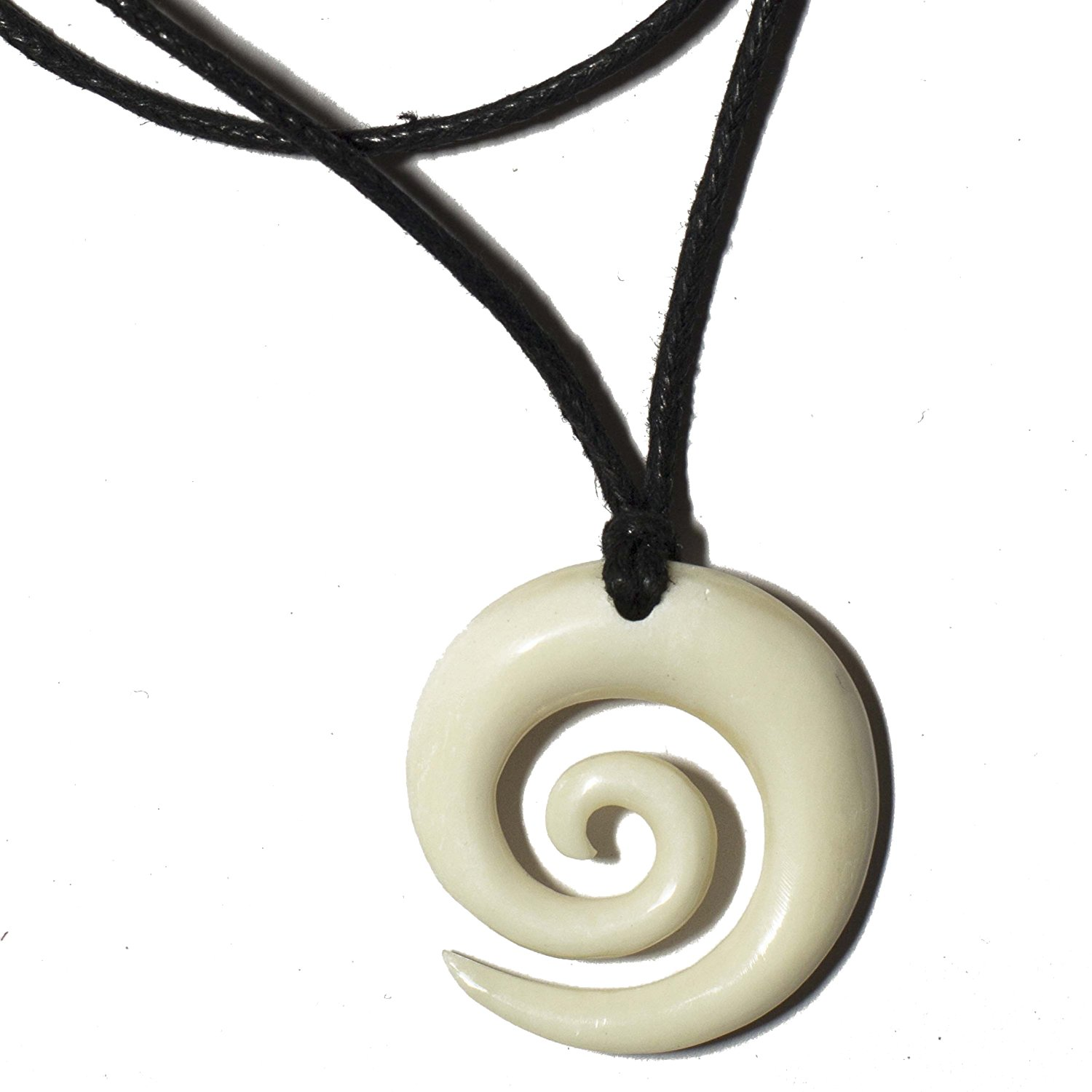 necklace bone men dp women s charm spiral com womens round handcarved jewelry koru pendant maori amazon