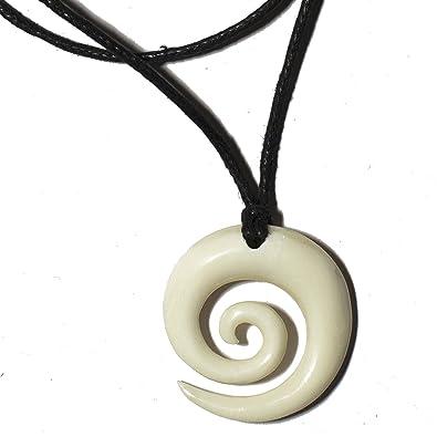 Bone spiral koru mens necklace maori pendant genuine bovinae bone spiral koru mens necklace maori pendant genuine bovinae family bone art mozeypictures Images