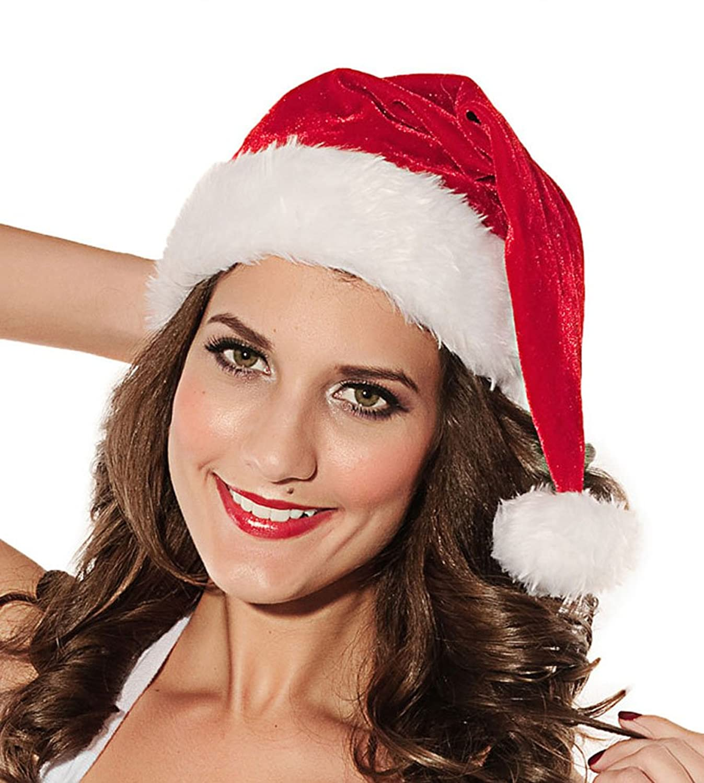 Fellbesatz, Größe: Youth/Weihnachtsmann-Mütze mit Pailletten, Rot