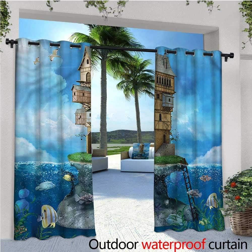 Cortina de privacidad para pergola con Dibujos Animados al Aire Libre, diseño de dragón de fantasía, Aislante térmico, Impermeable, para balcón: Amazon.es: Jardín