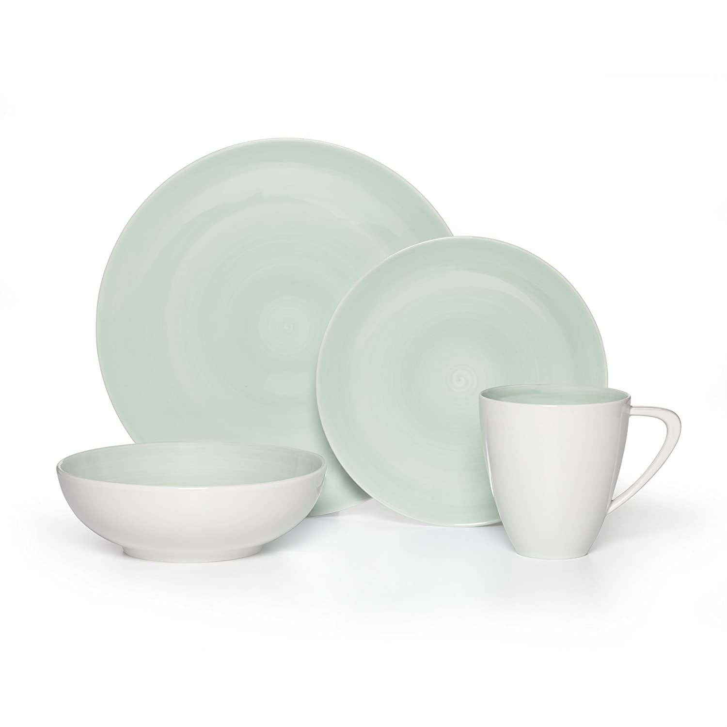 Teal Mikasa Savona Grey 4-Piece Place Setting, Service for 1