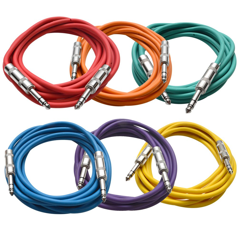 Seismic Audio SATRX-10BGORYP  6 Pack of Multi Color 10' 1/4''TRS to 1/4'' TRS Patch Cables