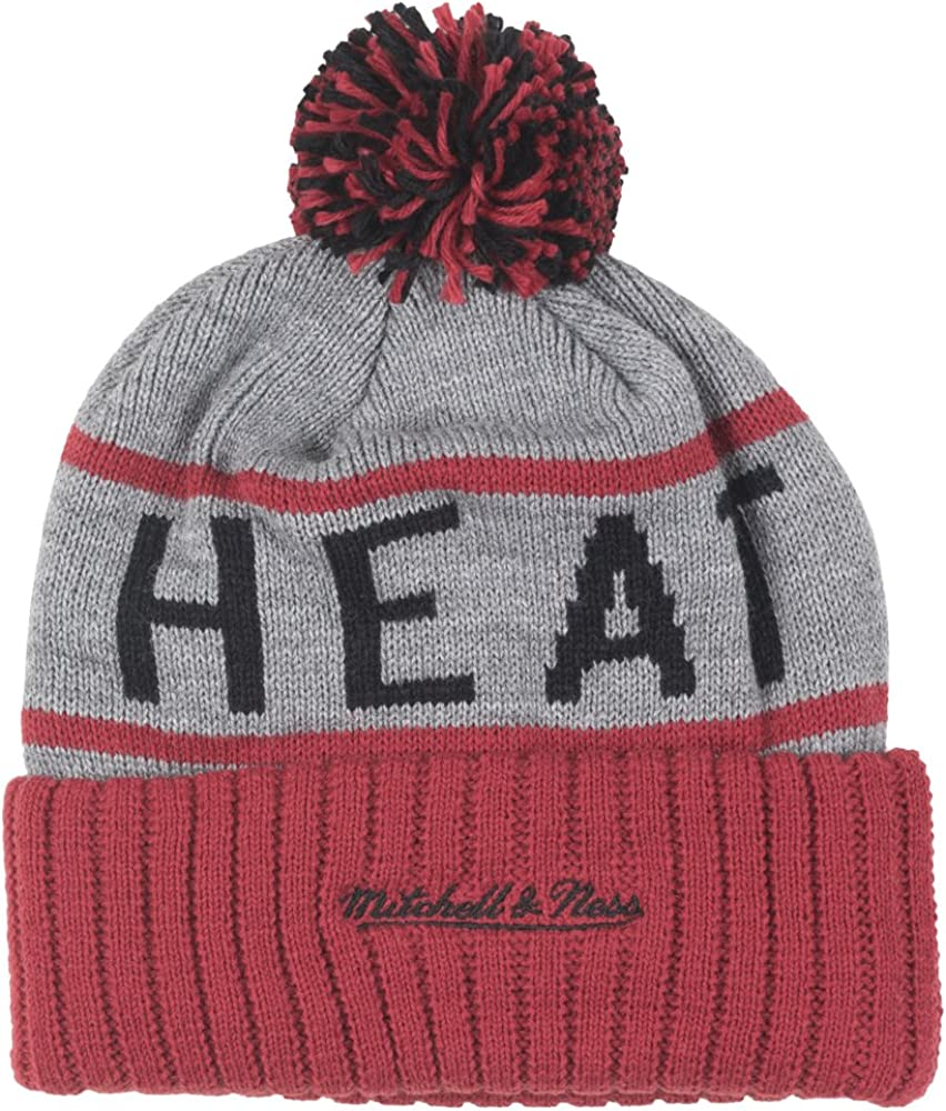 Miami Heat Mitchell /& Ness NBA High 5 Gray Current Cuffed Knit Hat