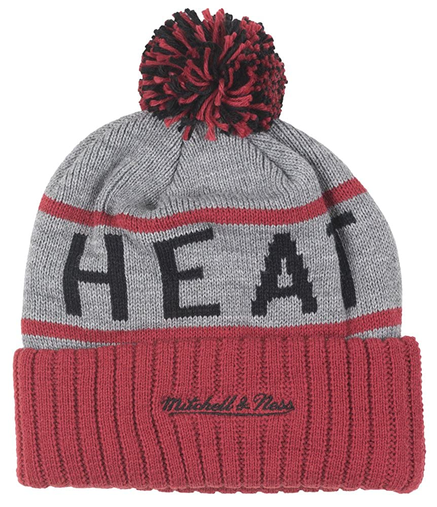 best website 1d635 877ab Amazon.com  Miami Heat Mitchell   Ness NBA High 5 Gray Current Cuffed Knit  Hat  Clothing