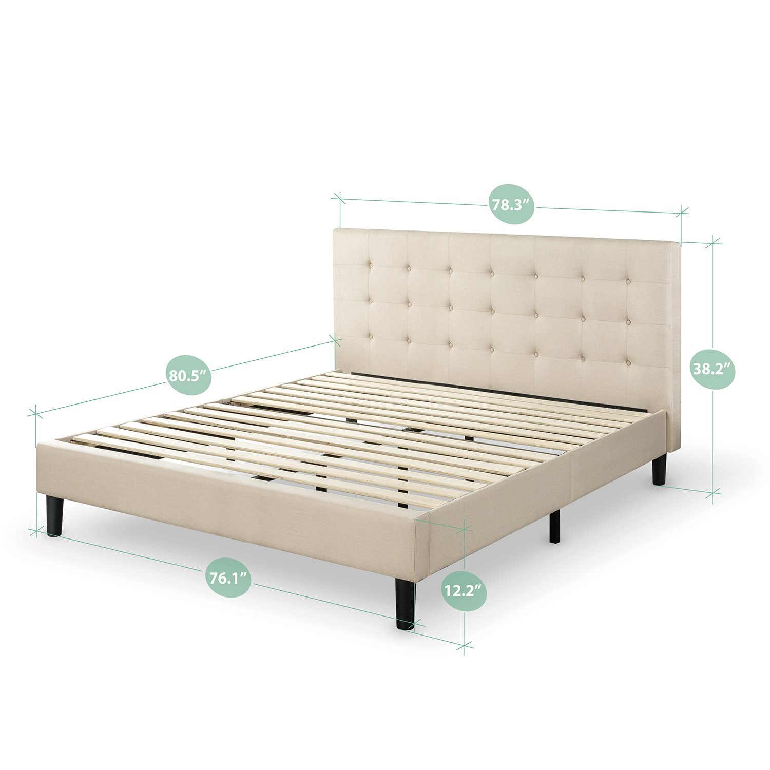 Amazon.com - Zinus Upholstered Button Tufted Platform Bed with Wooden  Slats, King -