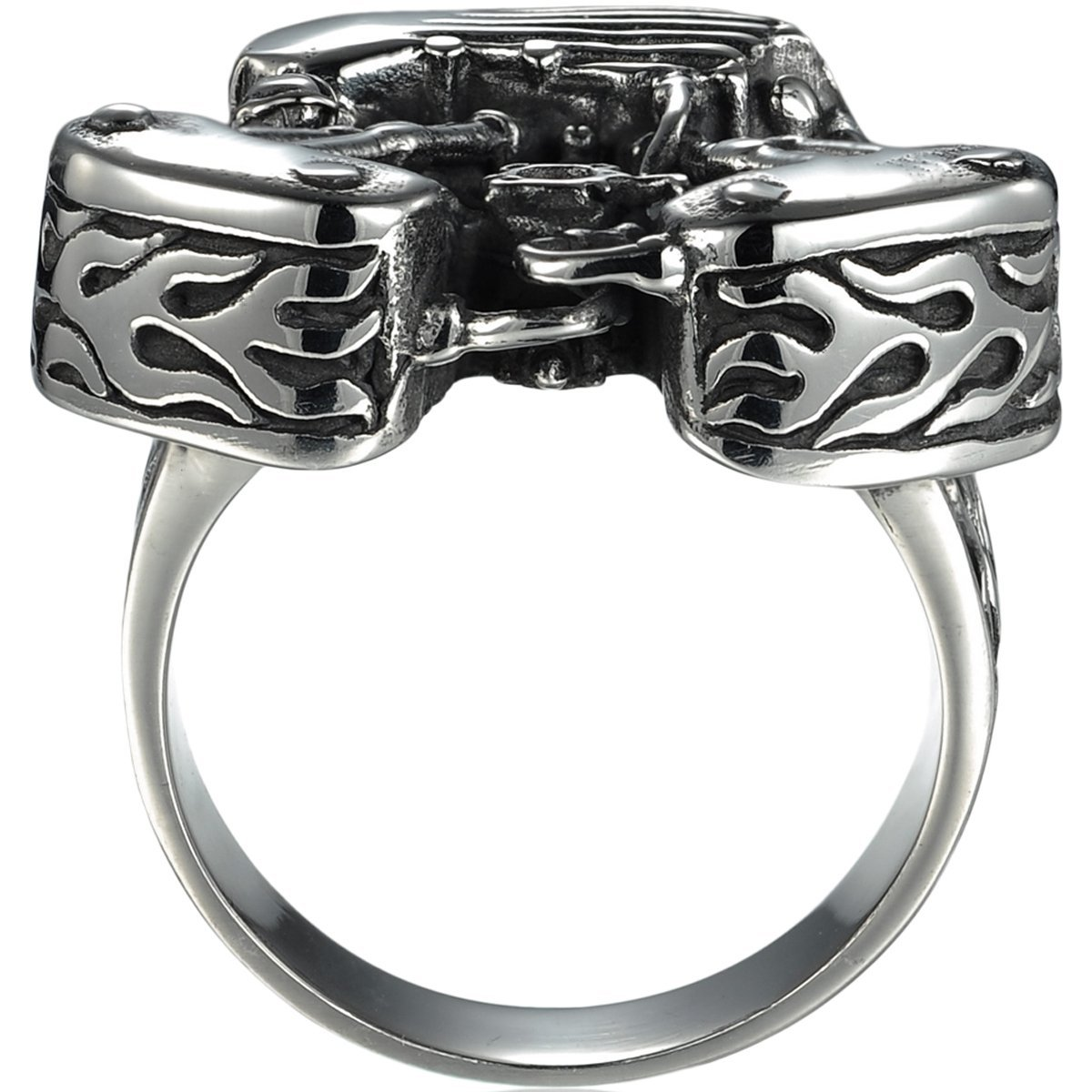 HooAMI Men's Stainless Steel Motorcycle Engine Biker Ring Black Silver,Size 13 by HooAMI (Image #2)
