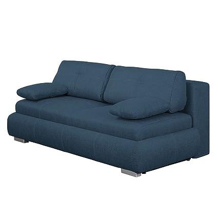 Boxspring Schlafsofa Gastebett Sofa Gastebett Boxspringbett Couch Webstoff Blau